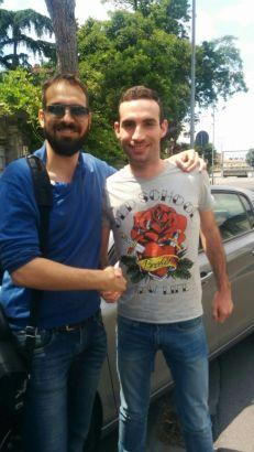L'amministratore di Lega premia Andrea Ammannati (Tette Biscottate) vincitore della Champions League 2014-2015